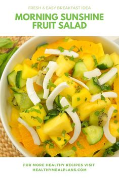 Start your morning right with this healthy Morning Sunshine Fruit Salad! It is loaded with fresh vibrant fruits, and crunchy cucumber and coconut chips! It is a delicious and breakfast option! Vegetarian Breakfast, Vegetarian Paleo, Vegan, Breakfast Options, Breakfast Recipes, Healthy Options, Healthy Recipes, Veggie Delight, Recipe Details