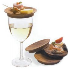 wine glass appetizer plate set