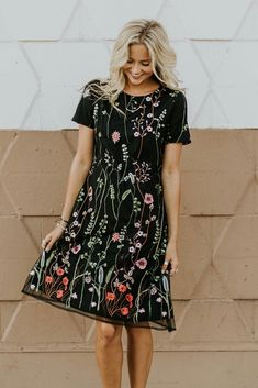 Iris Embroidered Dress in Black | ROOLEE