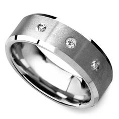 Mens tungsten wedding bands are a great alternative to traditional white gold or platinum bands. Tungsten is a natural silver-grey, similar to other white metals, but it is a much more durable ring option—and comes at a fraction of the cost! Mens Wedding Rings Tungsten, Engagement Wedding Ring Sets, Diamond Wedding Bands, Black Diamond Studs, Cushion Diamond, Tiny Stud Earrings, Vintage Diamond, Satin, Rings