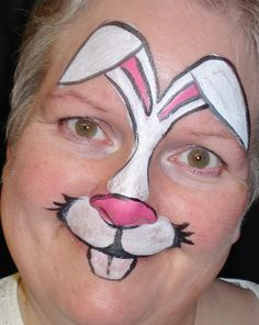 Easter bunny face painting by Shannon Fennell. One size fits all! http://shannonfennell.wordpress.com/2013/03/29/the-bunny-apocalypse/