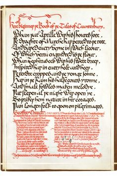 'Here Biginneth the Book of the Tales of Caunterbury', illuminated manuscript by Edward Johnston, 1927. NAL reference number: MSL/1964/1879,...