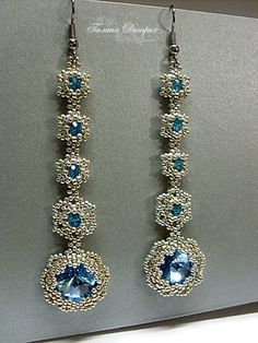 "# beadwork Earrings ""Forget-me"" and the end of the black strip :) 