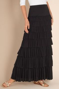 Talls Tiered Knit Skirt - Ruffle Skirt, Broomstick Skirt, Slimming Maxi Skirt | Soft Surroundings - $89.00