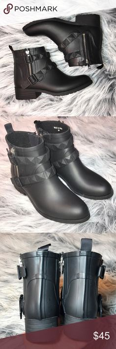 Rebecca Minkoff Quincy Rain Booties Studded straps and a side ankle zip combine for a moto-inspired rubber rain boot. The lug sole ensures slip-free style. Gently worn with scuffs and marks from normal wear but definitely lots of life left, no stains or holes 👌🏼 Rebecca Minkoff Shoes