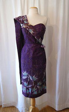 Stunning 1950s Alfred Shaheen Hawaiian floral print strapless sarong sun dress shelf bust with shawl