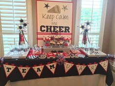 Cheerleading birthday party dessert table! See more party planning ideas at CatchMyParty.com!