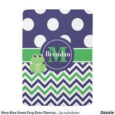 Navy Blue Green Frog Dots Chevron Personalized Stroller Blanket