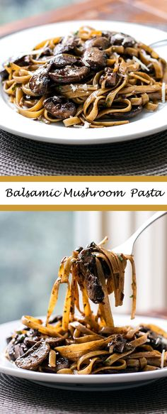 This balsamic mushroom pasta for two is an easy pasta recipe that takes to make! It's rich and full of flavor and a cozy dinner for two. Balsamic Mushroom Pasta A simple and elegant pasta dish with mushrooms, balsamic vinegar, and cream via Mushroom Pasta, Mushroom Recipes, Pasta With Mushrooms, Recipe With Mushrooms, Mushroom Sauce, Good Food, Yummy Food, Tasty, Balsamic Mushrooms