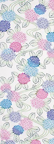 PRAIRIEDOG WAFUKA Tenugui Chusen  Summer Situation Colorful Hydrangea