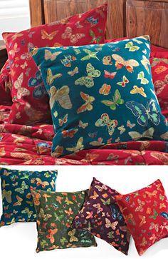 Butterfly print velvet cushion cover 50 x 50cm
