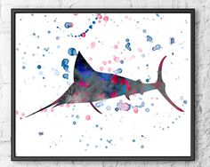 Watercolor art print  swordfish animal painting  by Thenobleowl, $15.00
