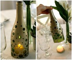 repurposed wine paint bottles candle holder table decoration upcycling