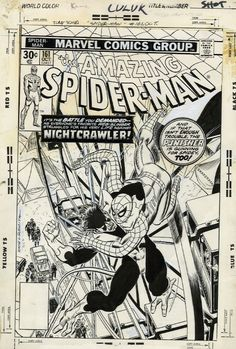 The cover to Amazing Spider-Man #161 by Gil Kane and John Romita. This is the first time any of the All-New X-Men appeared in a comic besides their own.