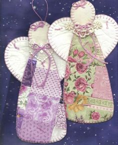 Cornelia Eelman uploaded this image to 'wholesalelot'. See the album on Photobucket. Quilted Christmas Ornaments, Fabric Ornaments, Christmas Sewing, Felt Christmas, Christmas Angels, Christmas Projects, Holiday Crafts, Natal Diy, Handmade Angels