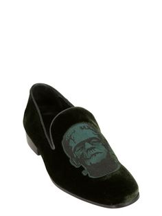 CHRISTOPHER KANE - FRANKESTEIN PATCH VELVET LOAFERS - LUISAVIAROMA - LUXURY SHOPPING WORLDWIDE SHIPPING - FLORENCE