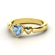 My Heart Beats for You Ring #customizable #jewelry #bluetopaz #gold #ring