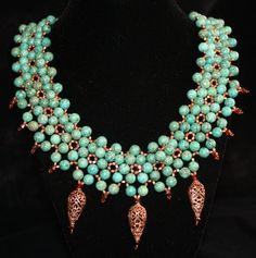 Beadweaving Turquoise Copper Swarovski Crystal by TheBeadnikDivas. buy at www.etsy.com $195.00  posted by  katstreasureshop   on 03/09/12  SEND TO FRIENDS  Twitter  Tumblr  embed