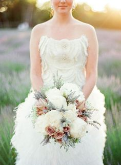 Peony, blush spray rose, and lavender bouquet