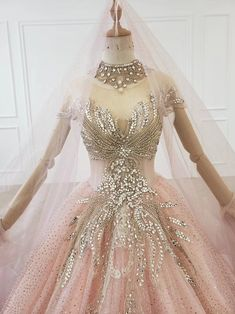 Ombre Pink Beaded Crystals Sparkle Ball Gown Wedding Dress | Etsy