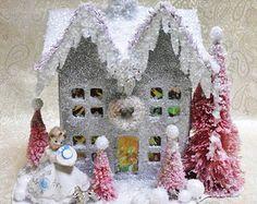 CUSTOM ORDER for Stephanie Christmas Cardboard Putz House with Vintage Figurine Pink Bottle Brush Trees Wreath Vintage Inspired