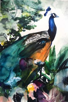 Peacock Garden by Christine Lindstrom on Artfully Walls