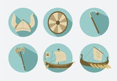 Here is a collection of vector icons that are related to the ancient Viking legend. You can find the Viking warior helmet, the shield, the weapons and the Viking ship in the set.