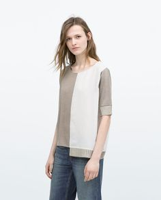 Image 1 of TWO-TONE T-SHIRT from Zara