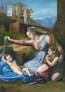 Madonna with the Blue Diadem - Raphael. 1512-18. Oil on wood. 68 x 48 cm. Musee du Louvre, Paris, France.