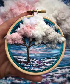 Cherry blossom landscape thread painting by vera shimunia - this amazing artistic embroidery has beautiful shading and texture Hand Embroidery Stitches, Embroidery Hoop Art, Hand Embroidery Designs, Cross Stitch Embroidery, Hand Stitching, Geometric Embroidery, Modern Embroidery, Thread Painting, Thread Art