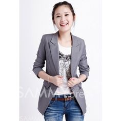 $18.51 Laconic OL Style Slimming Solid Color Waist Pleated Long Sleeves Cotton Blend Long Blazers For Women