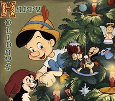 Merry Christmas Pinocchio and Figero and Jimmine Cricket.