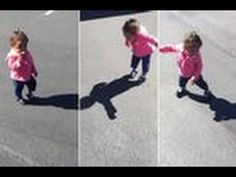 Incredibly cute moment toddler spots her own shadow - and is TERRIFIED - YouTube