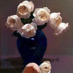 "Finis! ""Patience in Cobalt Vase"" oil  24"" x 18""  #a#artist #artforsale #AmericanArtCollector #americanimpressionism #impressionism #inthestudio #dennisperrin #dennisperrinfineart #cobaltblue #roses #rosesporn #oil #oilpainting #painting #stilllife #winsornewtonusa #ARTSTARSMAG"