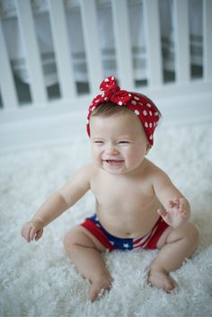 Polka dots meet stars & stripes in this darling duo for your patriotic babe.
