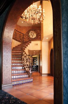 Incredible custom railings at the entry of the hacienda-style home in Ventura, CA. tile staircase stairs steps stairway riser Mexican Spanish Hacienda iron entry foyer - DIY Home Decor Mexican Style Homes, Spanish Style Homes, Spanish House, Spanish Colonial, Style At Home, Hacienda Style Homes, Spanish Haciendas, Mexico House, Mediterranean Home Decor