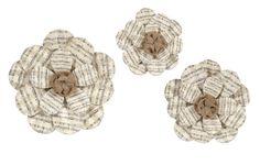 3 Piece Davis Sheet Music Flower Wall Decor Set