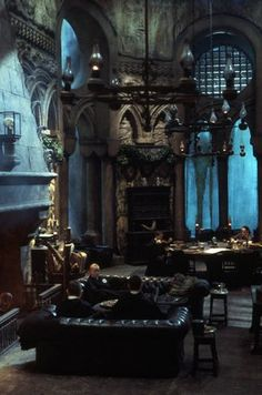 Slytherin common room, appropriately dark and creepy.