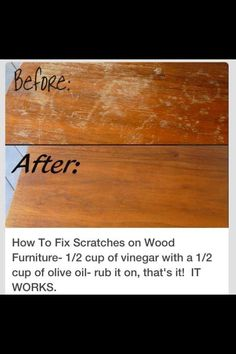 49 Super Crazy Everyday Life hacks You Never Thought Of How to Fix Scratches on Wood Furniture; cup of Vinegar with a cup of Olive oil-rub it on that's it! The post 49 Super Crazy Everyday Life hacks You Never Thought Of appeared first on Wood Diy.