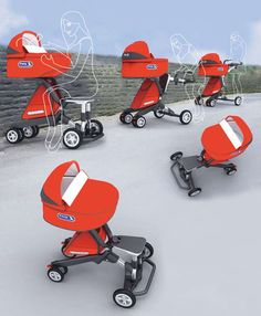 The Pony Stroller - provides a seat which you can perch on if you are tired. #stroller #babyproduct #cooldesign