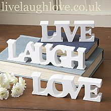 White Wooden Live Laugh Love- Free Standing