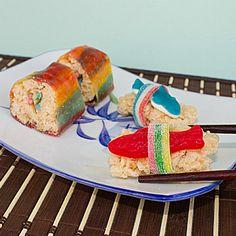 Candy Sushi - California Rolls and Nigiri Sushi - directions Gummy Sushi, Nigiri Sushi, Dessert Sushi, Sushi Cake, Kraft Recipes, Dessert Recipes, Desserts, Candy Sushi Rolls, Sushi Take Out