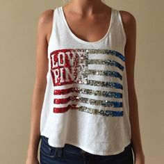 Pink Victoria's Secret bling tank white tank with red white and silver bling flag in excellent condition PINK Victoria's Secret Tops Tank Tops