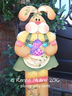 A fun and whimsical porch greeter for Spring/Easter. A great way to greet your guests or decorate your home for the Spring season. WOOD KIT AVAILABLE. Easter Bunny, Easter Eggs, Porch Greeters, Easter Paintings, Wooden Rabbit, Bunny Face, Pintura Country, Spring Painting, Halloween Painting