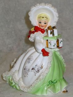 Vintage Napco Christmas Shopper Figurine