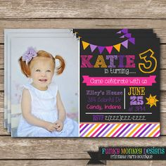 """Diy Personalized Pink Purple & Yellow Disney Princess Rapunzel Tangled Chalkboard Inspired Birthday Party Digtial PRINTABLE 4""""x6"""" Invitation..."""