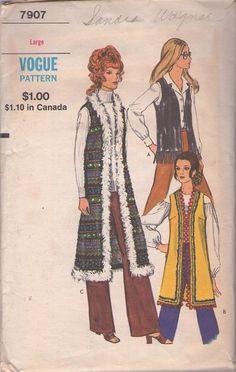 Vogue 7907 Vintage 70's Sewing Pattern I GOT YOU BABE! Awesome Hippie Boho Faux Fur Trim Long Sleeveless Cher Vest Coat, Fringed Biker Vest #MOMSPatterns