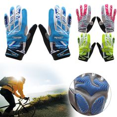 Cycling Bicycle Bike Full Finger Gloves GEL Padded Shockproof Sport Touch Screen #Unbranded #FullFinger