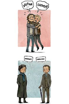 Brothers. With very different and interesting relationships. XD | Deean/Sammy Mycroft/Sherlock Thor/I hate you!
