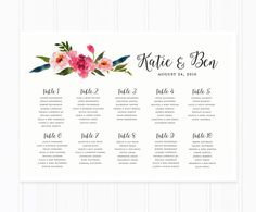 Wedding Seating Chart Wedding Table Chart von MooseberryPaperCo